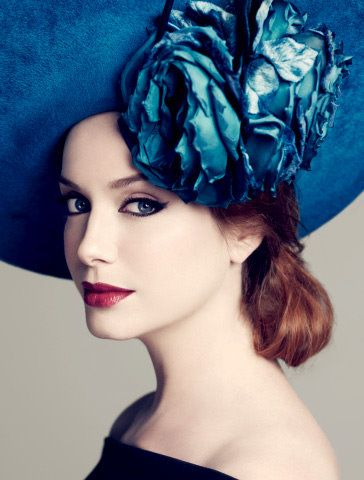 Philip Treacy hat, modeled by Christina Hendricks