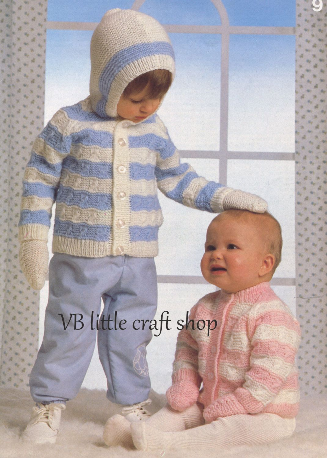 67dbb399d Baby s hooded jacket and mitts knitting pattern. Instant PDF download! by  VBlittlecraftshop on Etsy