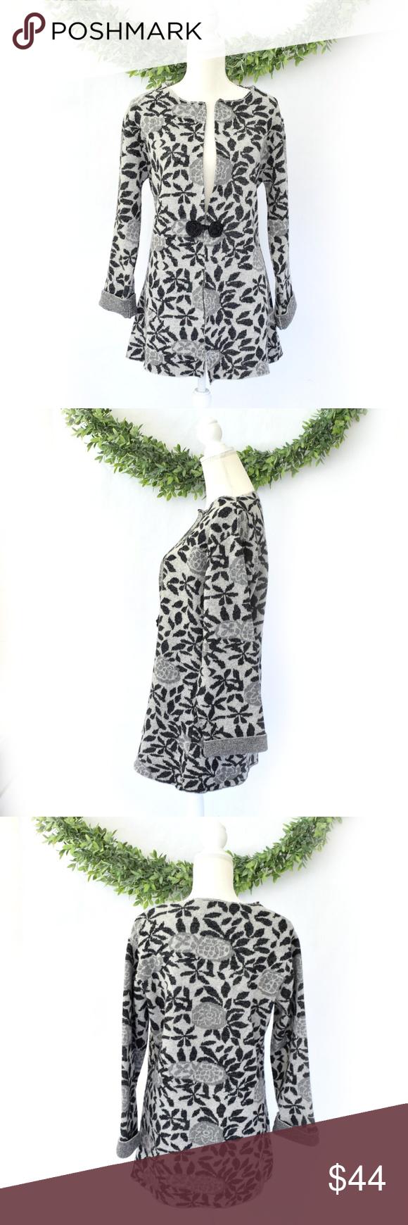 Coldwater creek long gray floral cardigan jacket my posh closet