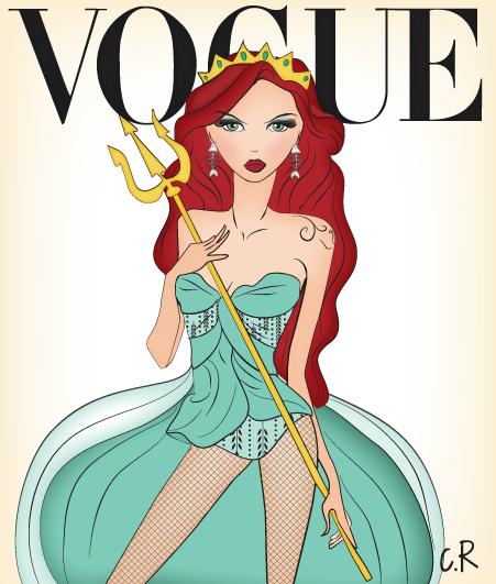 Ariel disney princess in vogue ! Inspiration theme : Dante Tyler #ariel #littlemermaid #disney #vogue #princesses #cover #fashion #illustration #modern