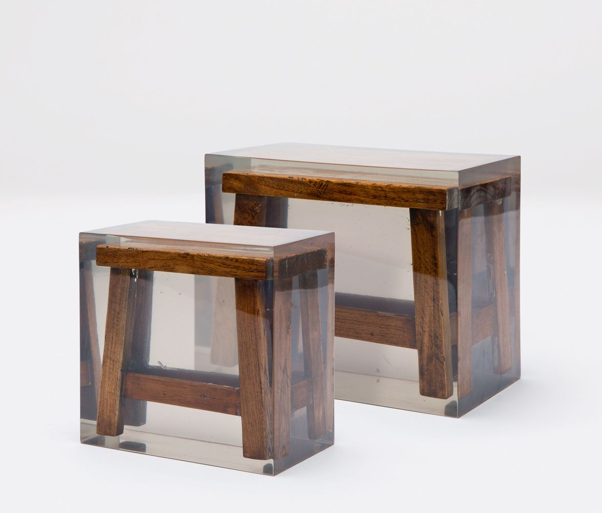 Wooden Japanese Stools ~ Quot tanek japanese wooden stools in opaque acrylic resin