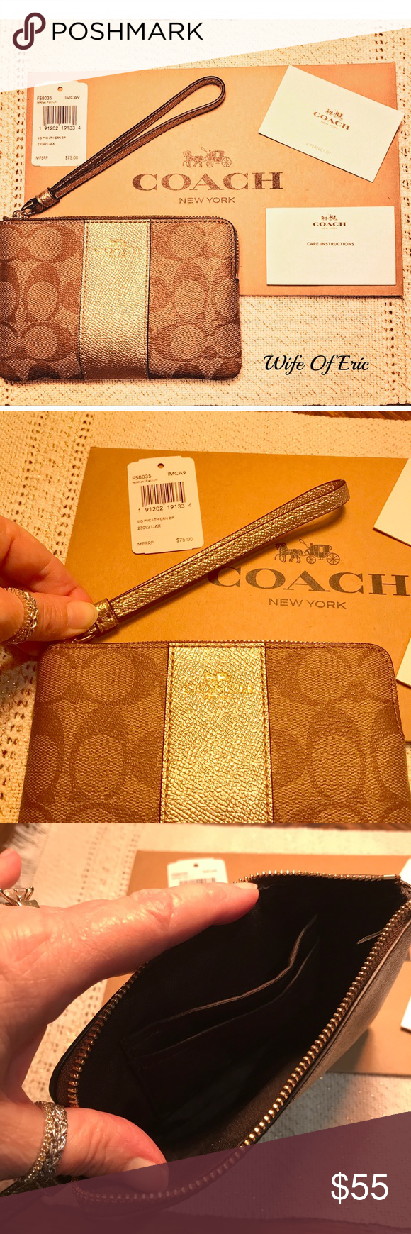 Coach Leather Corner Zip Wristlet with Gift Box NWT