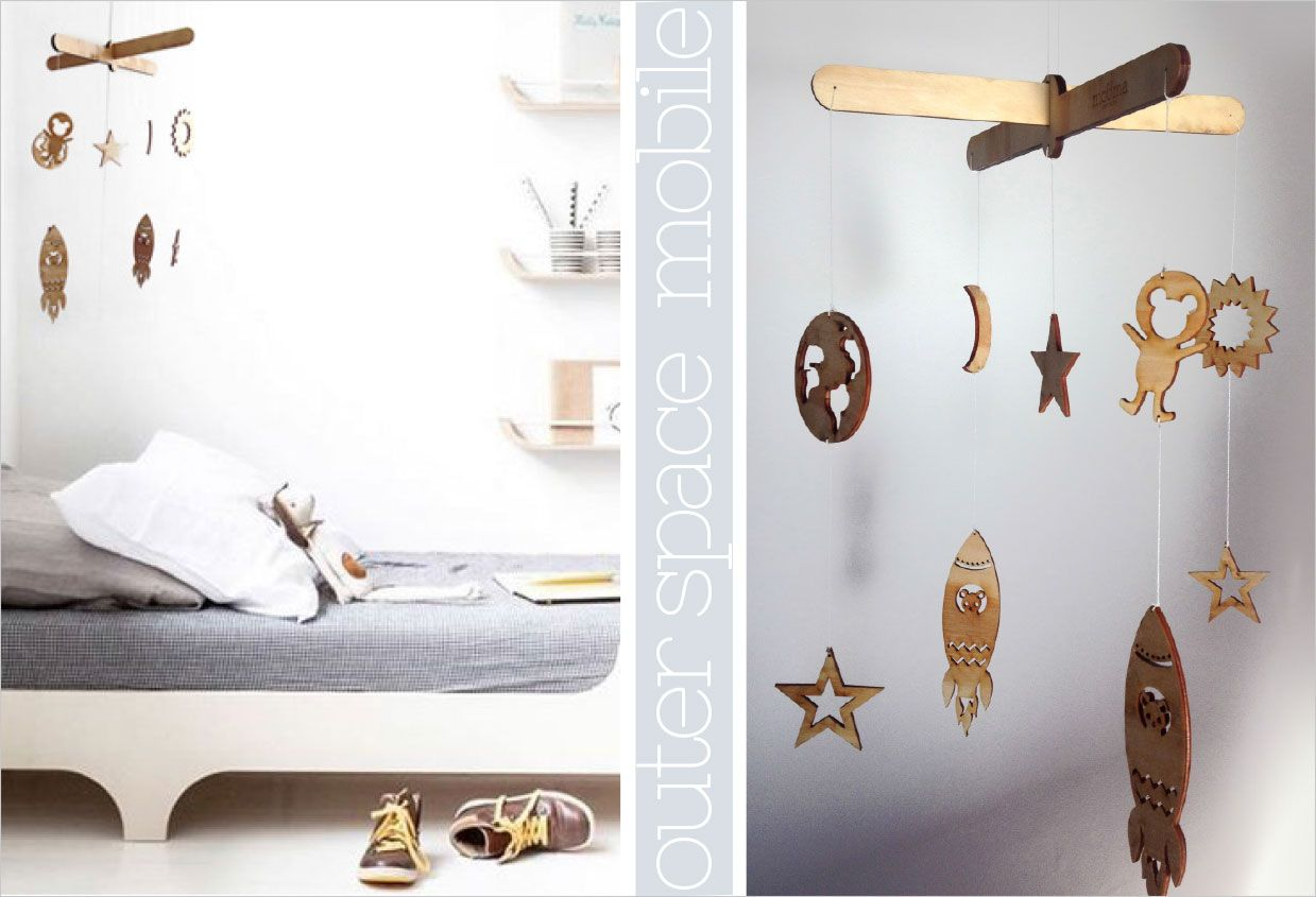 Outer Space Mobile - float around in space with this beautiful wooden mobile. https://www.facebook.com/MoomaDecor