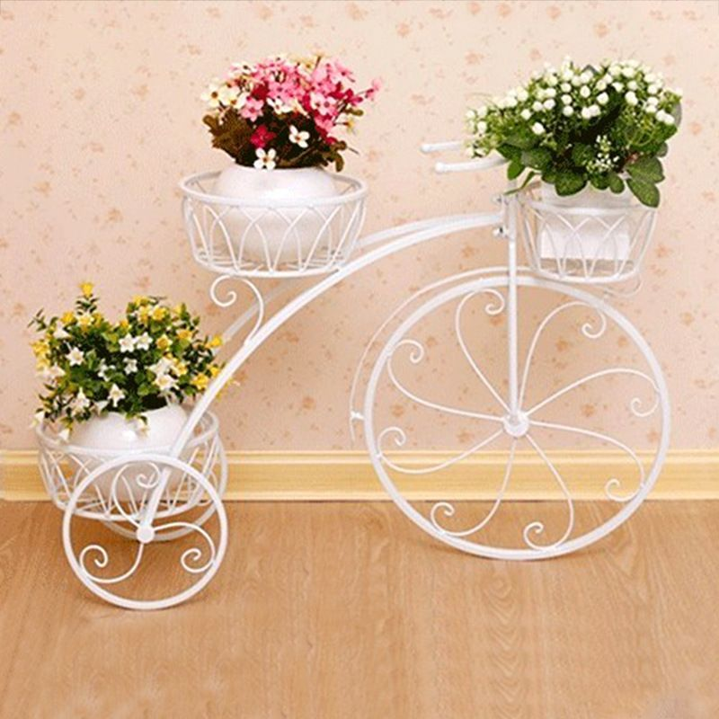 Features: Metal cycle style planter stand with out metal ...