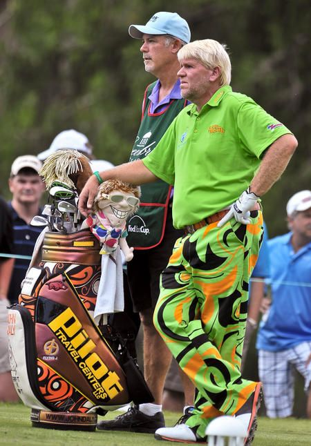 With his colorful pants and a bag to match, John Daly ...