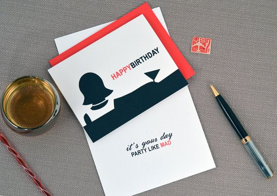 Mad Men Birthday Card Party Like Mad by CDesignIllustration – Mad Men Birthday Card