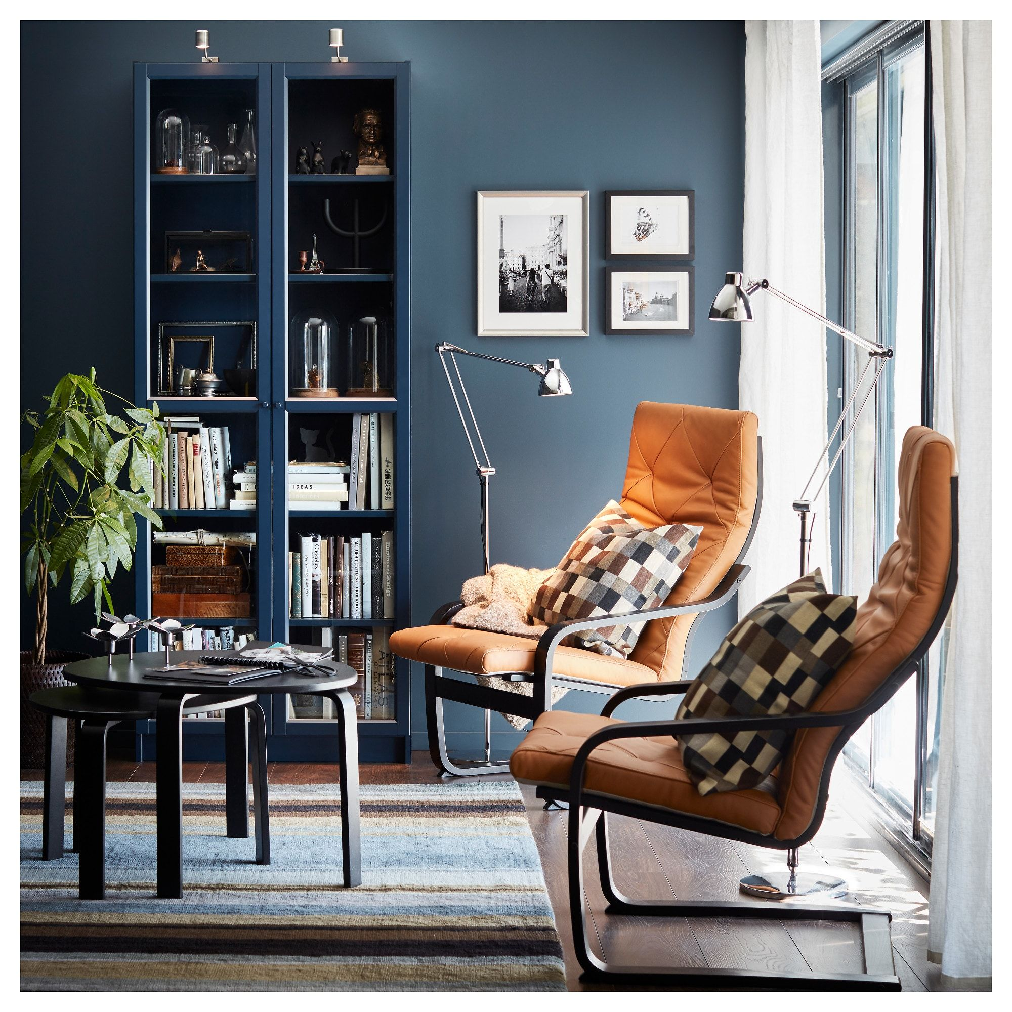 the latest 005c1 ecd60 IKEA BILLY Dark Blue Bookcase with glass doors | apartment ...