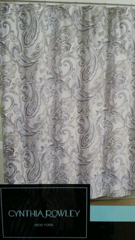 Cynthia Rowley Maeve Gray Beige White Taupe Paisley Fabric Shower