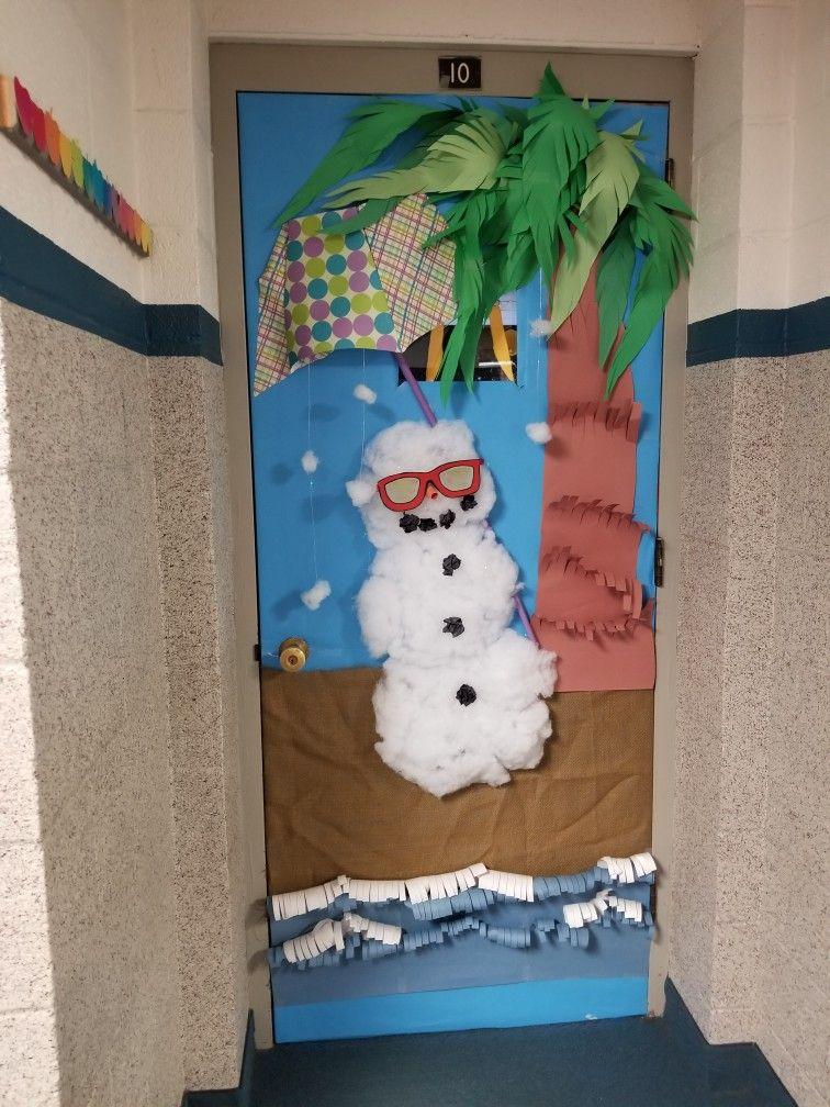 Christmas School Door Decoration Snowman On A Beach School Door