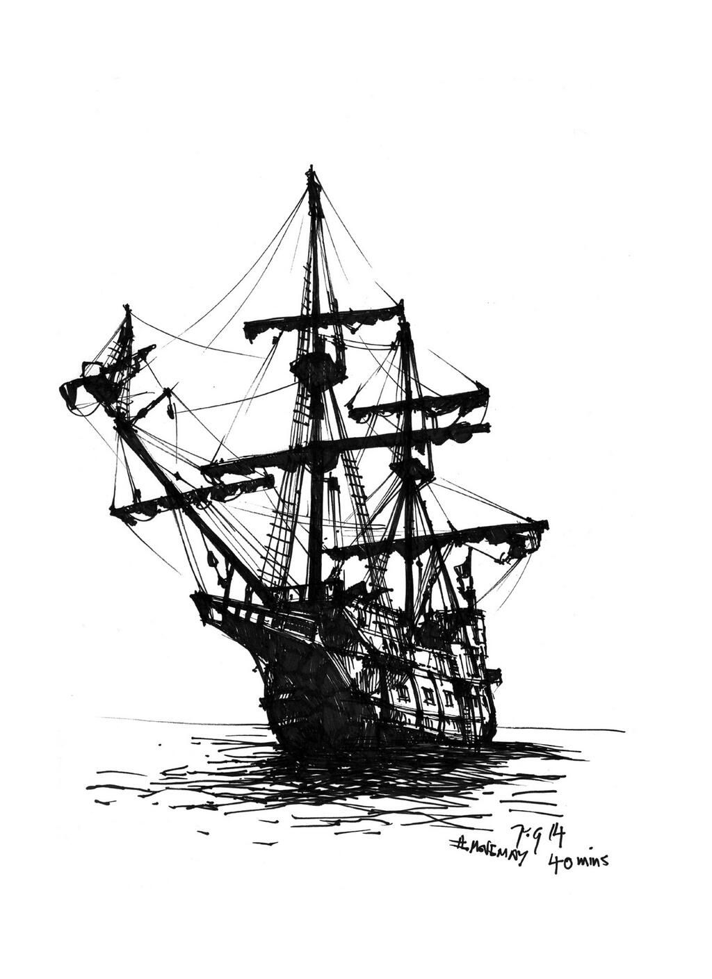 Movemay Thedailysketch 40 Min Ink Sketch Of A Galleon