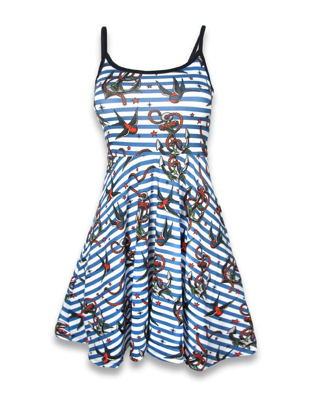Liquor Brand Damen ANCHORS-BIRDS Kleid.Oldschool,Tattoo,Pin up,Custom Style