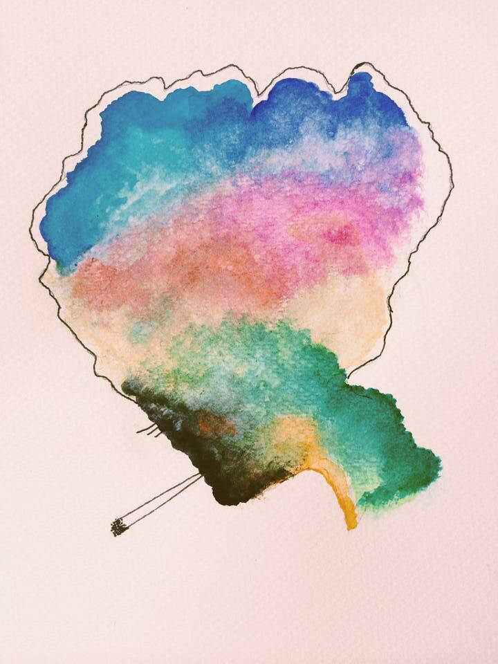 watercolor afro weed colorful jelly illustration #afro #psycehedelic #illustration #colorful #art #drawing