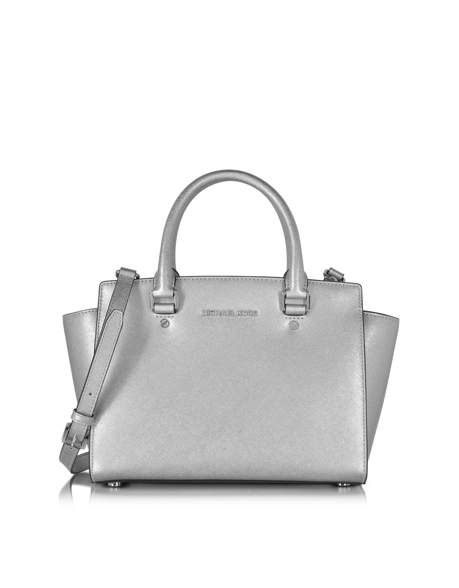 Michael Kors Selma Saffiano Leather Medium Satchel Bag In Silver