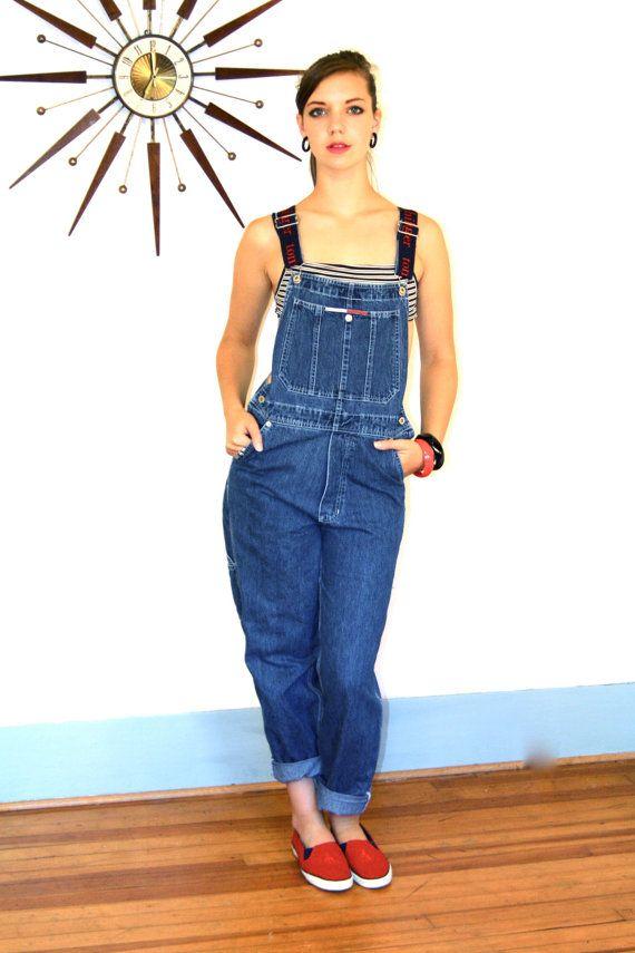 vintage tommy hilfiger overalls dark blue jean by posiesforlulu new items on etsy. Black Bedroom Furniture Sets. Home Design Ideas