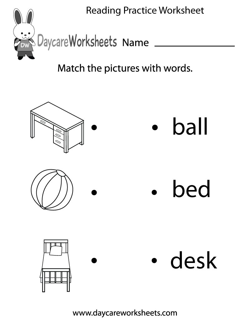 Preschoolers have to match objects with words in this free reading – Pre K Reading Worksheets