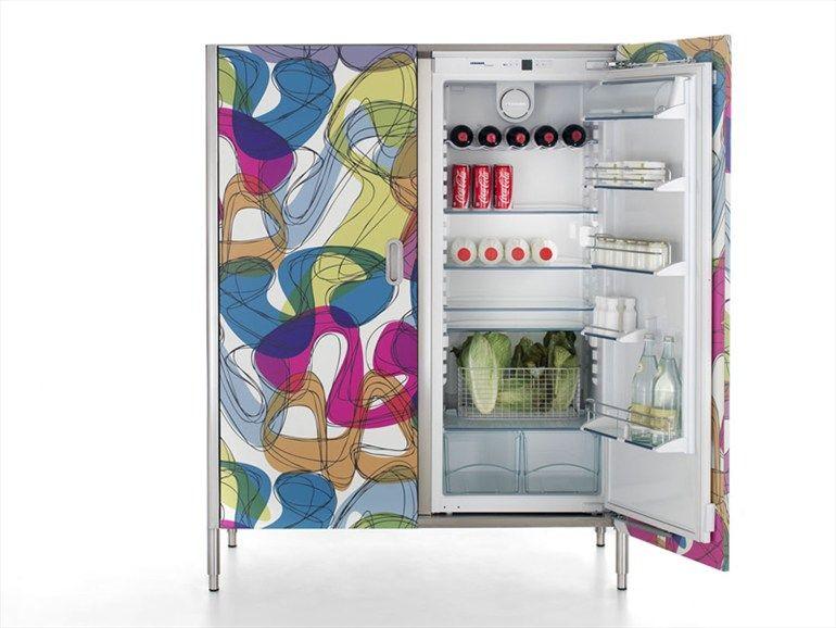 Column with fridge-freezer with door decor by Karim Rashid LIBERI IN ...