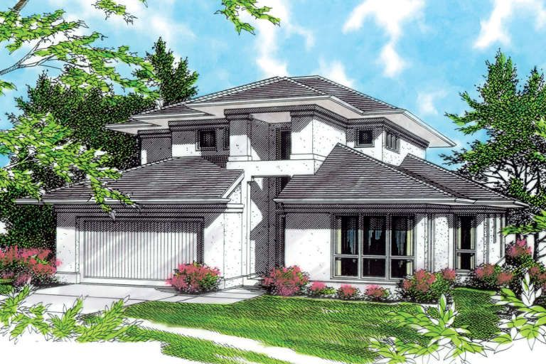 House Plan 2559 00735 Contemporary Plan 2 465 Square Feet 3 Bedrooms 2 5 Bathrooms In 2020 Contemporary House Plans Prairie Style Houses House Plans