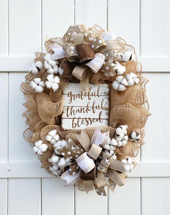Photo of Burlap Mesh Wreath, Cotton Wreath, Grateful Thankful Blessed Wreath, Farmhouse Wreath, Natural Wreath, Fall Wreath, Burlap Cotton Wreath