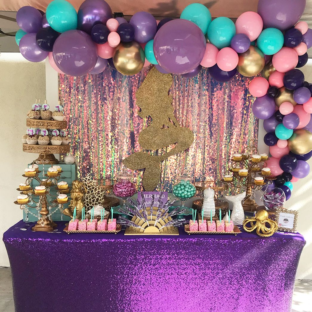 Mermaid Dessert Table Styled By Petals N More Gold Dessert Stands Available At Amalfide Mermaid Theme Birthday Mermaid Party Decorations Mermaid Theme Party