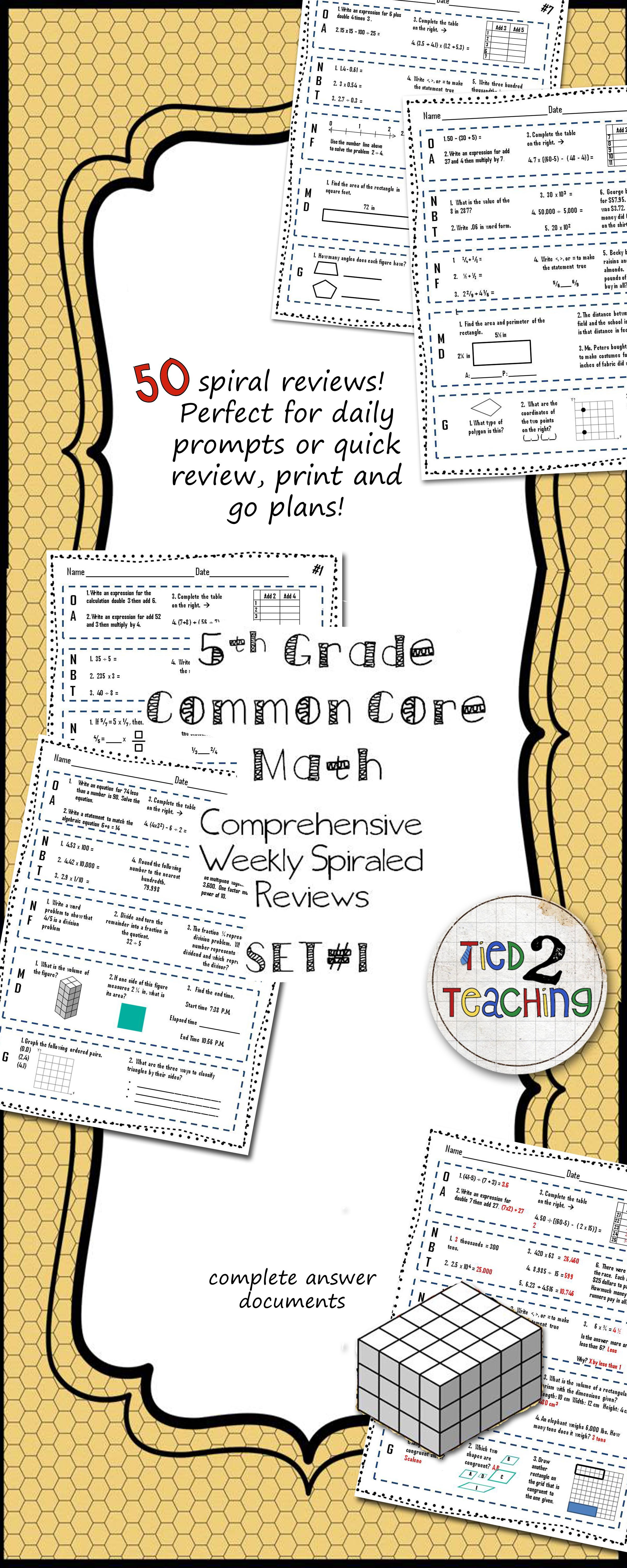 5th Grade Common Core Math Weekly Reviews Is A Comprehensive Resource Containing 10 Weeks Of Mathematics Review Worksheets 5th Grade Math Common Core Math Math [ 6000 x 2400 Pixel ]
