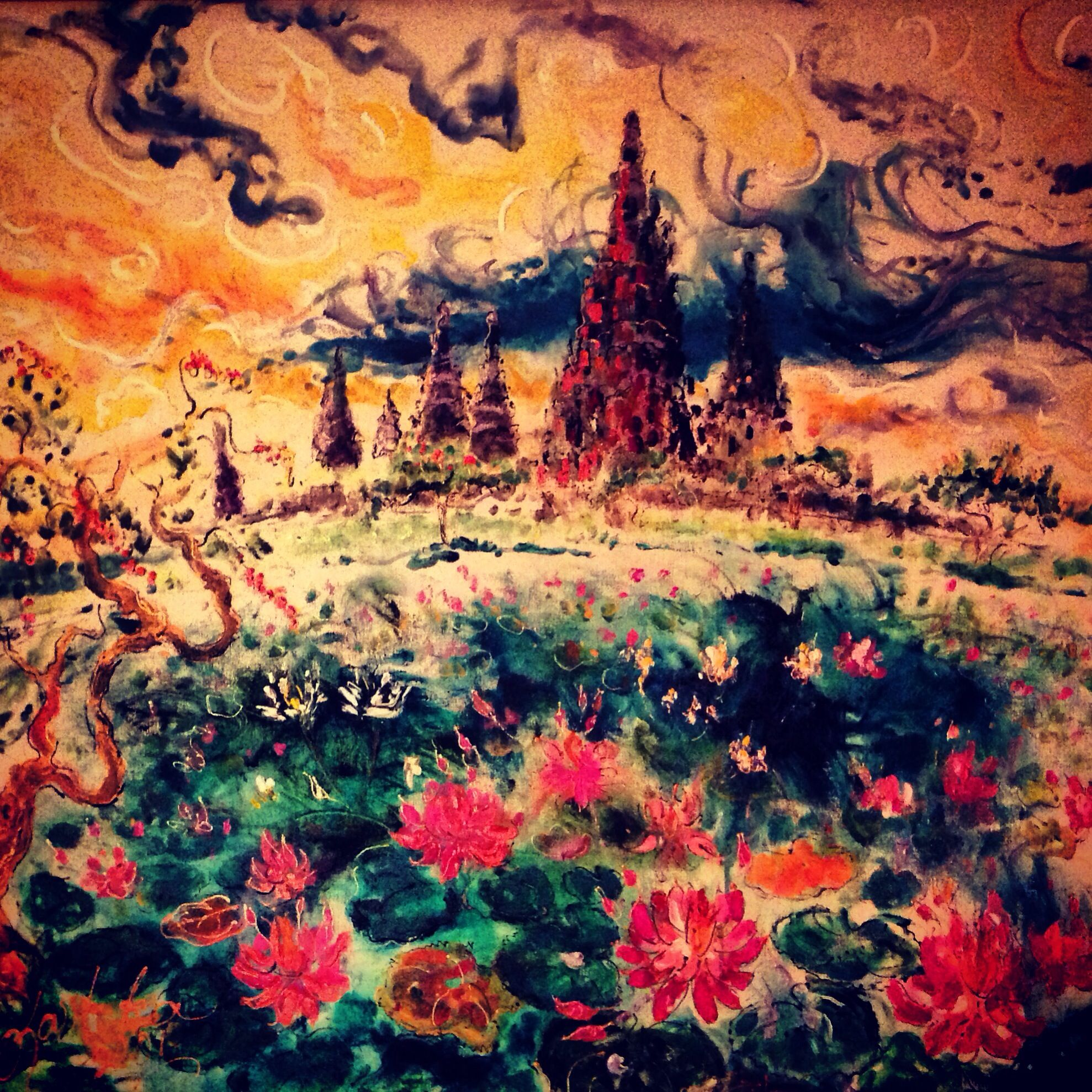 art painting. A temple in Indonesia painted by Kartika