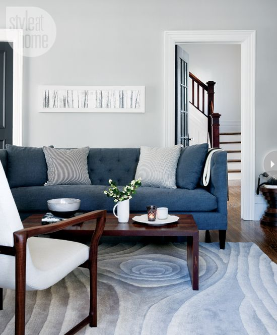 Style Scandinave En Ontario Planete Deco A Homes World Blue Sofa Living Blue Sofas Living Room Blue Couch Living Room