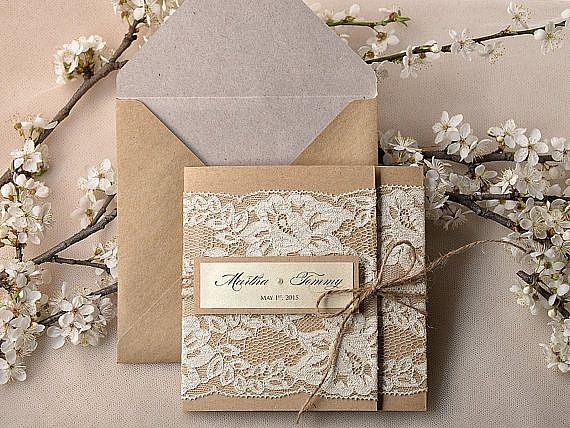 Rustic Wedding invitations with Vintage Lace Folded Craft Envelope Simple Elegant Stationery 02/rus/z