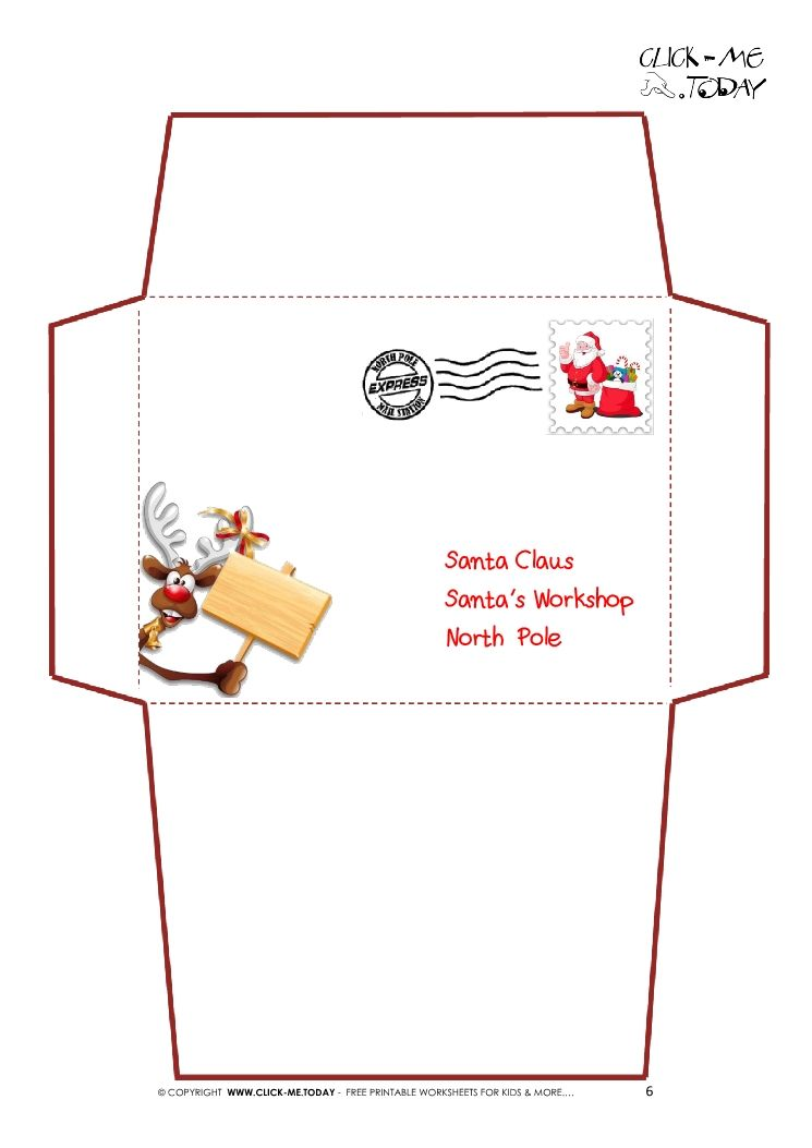 Printable Letter To Santa Claus Envelope Template Reindeer Stamp