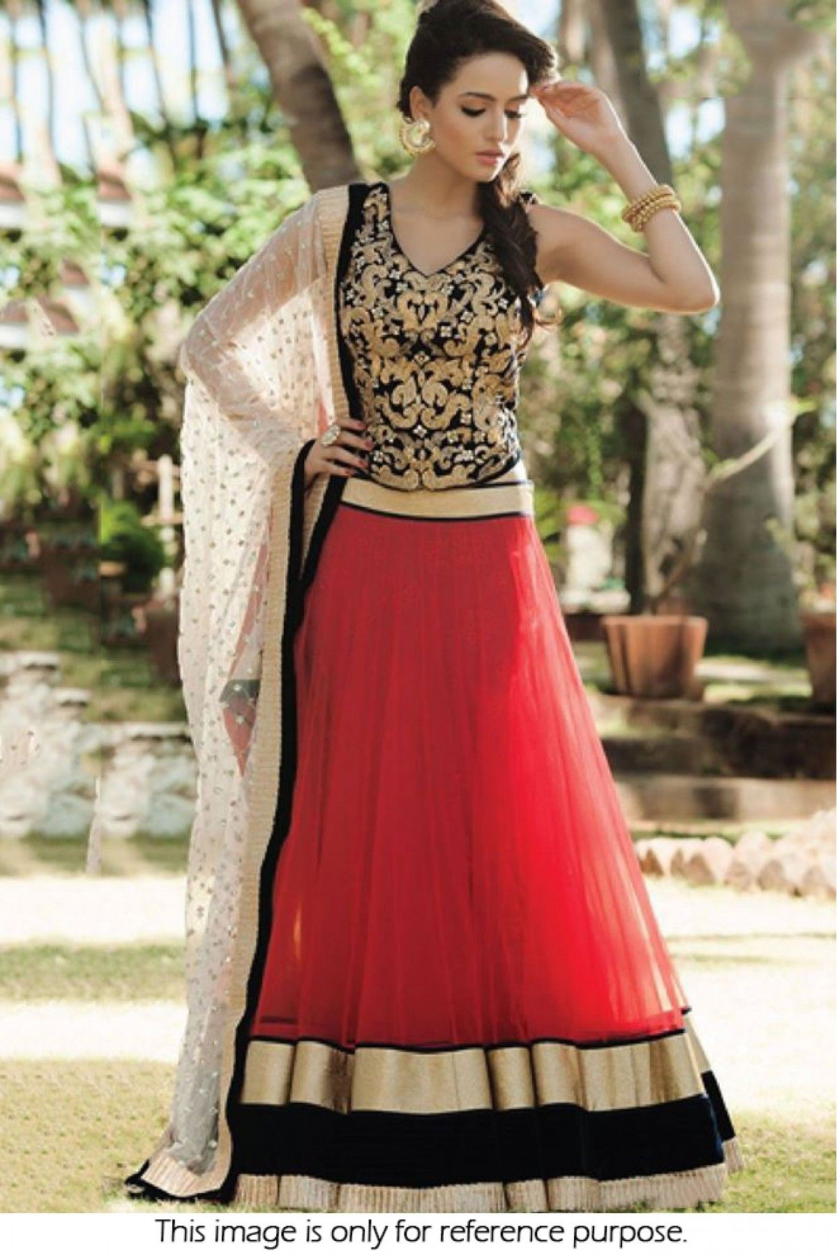 Bollywood Style Model Net Lehenga In Black And Red Colour