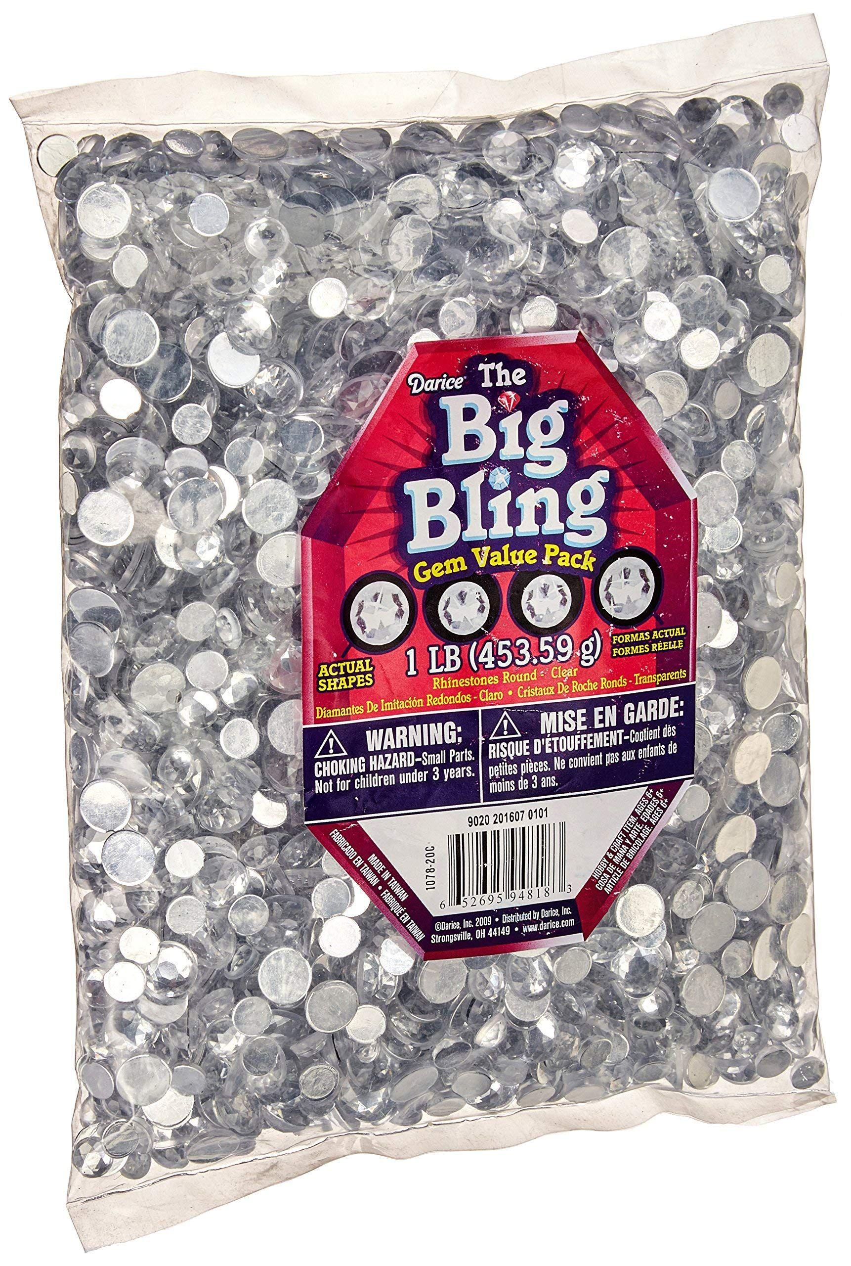 Darice 107820C Big Bag of Rhinestones, Round Crystal, Ad