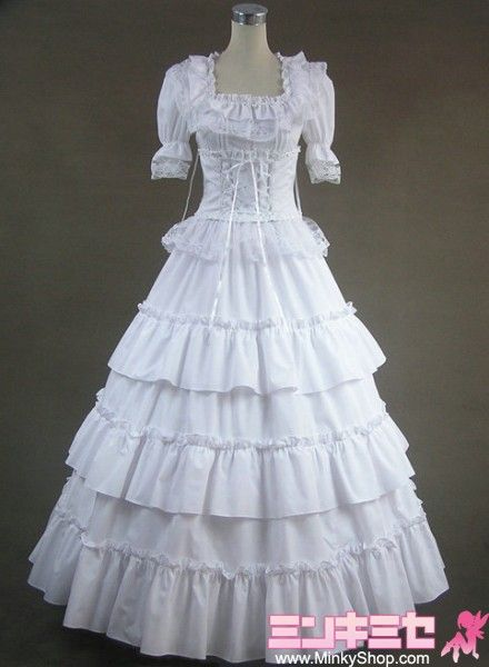 Details about  /Gothic Lolita Sleeveless Black Lace White Dress Costume Event Dance Party Ball