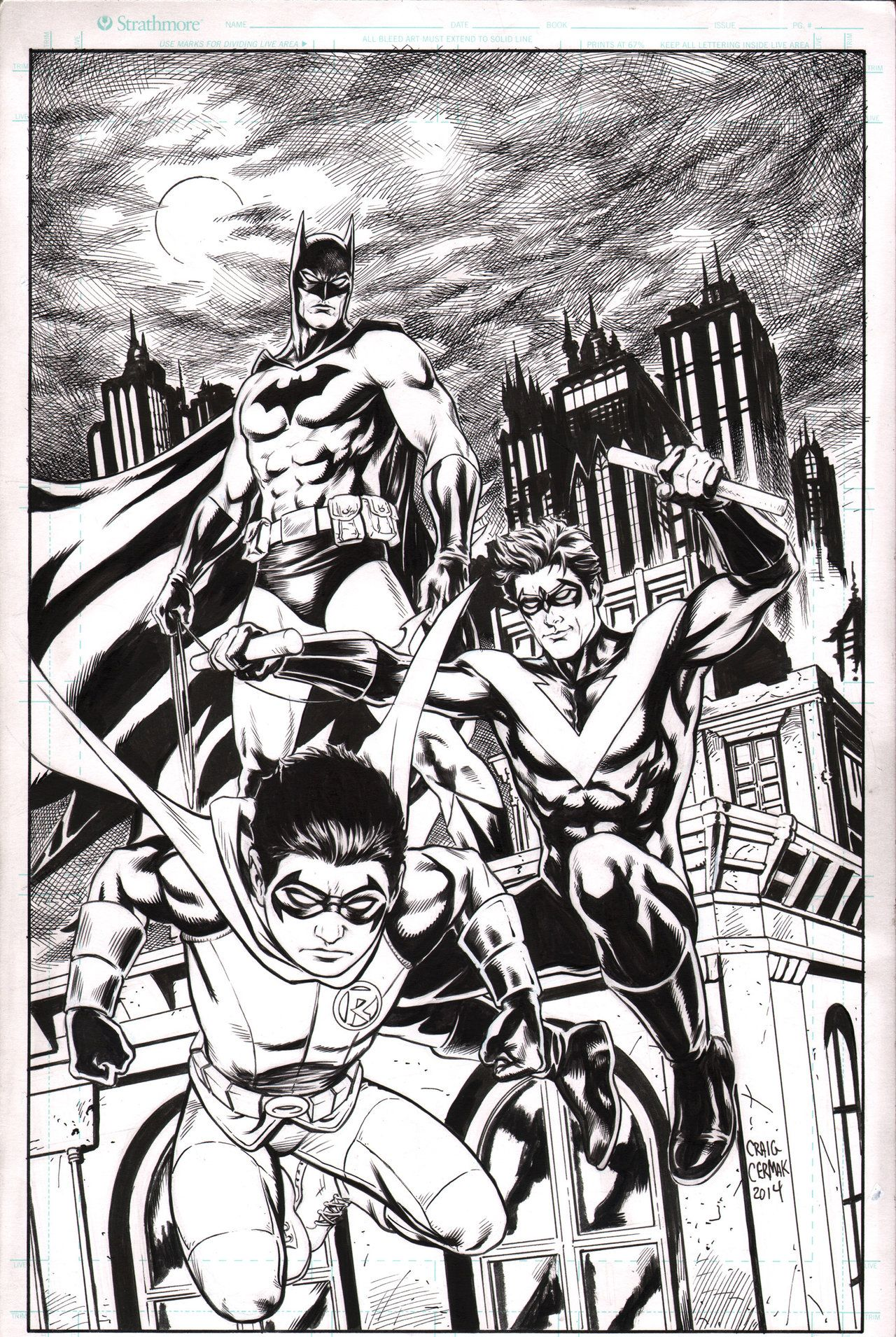 Batman, Nightwing, and Robin commission inks by craigcermak on ...