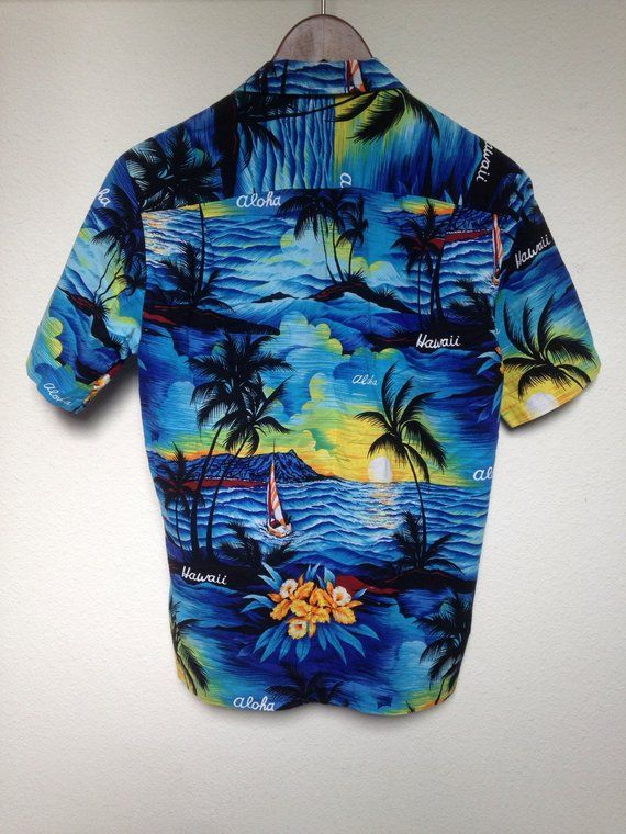 d6be4b0f Vintage blue Hawaiian shirt men's XS Aloha shirt, palm tree print, tropical  floral, Royal Creations,