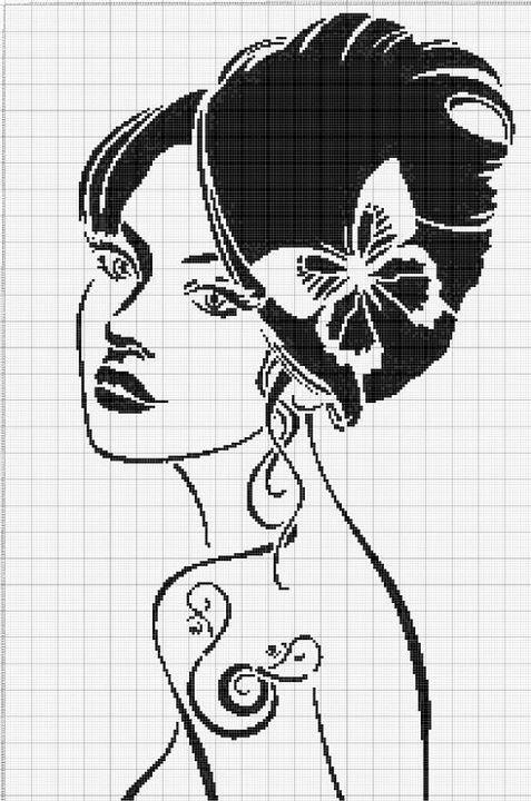 point de croix visage de femme moderne avec papillon et. Black Bedroom Furniture Sets. Home Design Ideas