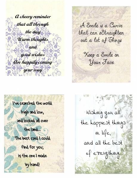 These are samples of how I do some of my inside verses For this - birthday card sample