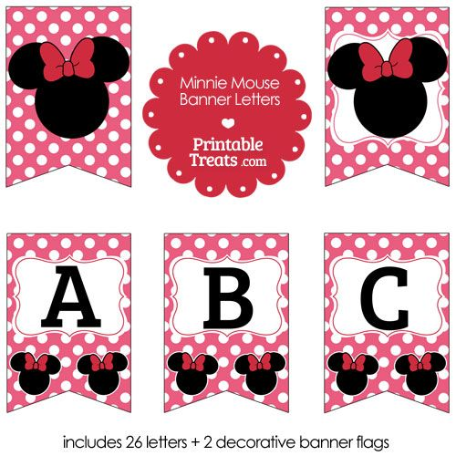 photo regarding Printable Treats Com called Crimson Minnie Mouse Banner Letters versus