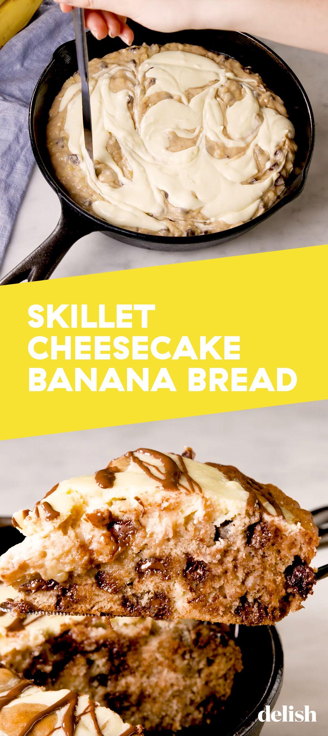 Skillet Cheesecake Banana Bread #bananabreadbrownies