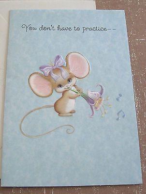 Unused Vtg Birthday Card Cute Mouse Playing Music W Flower Hallmark Charmers