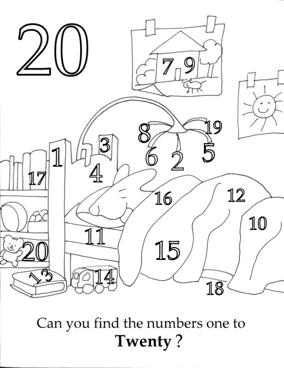 Free Preschool Printable Find All The Numbers 1 To 20 While Little Bunny Sleeps