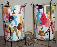 """Two 15"""" Girls Shaby Chic Retro Table Lamps"""