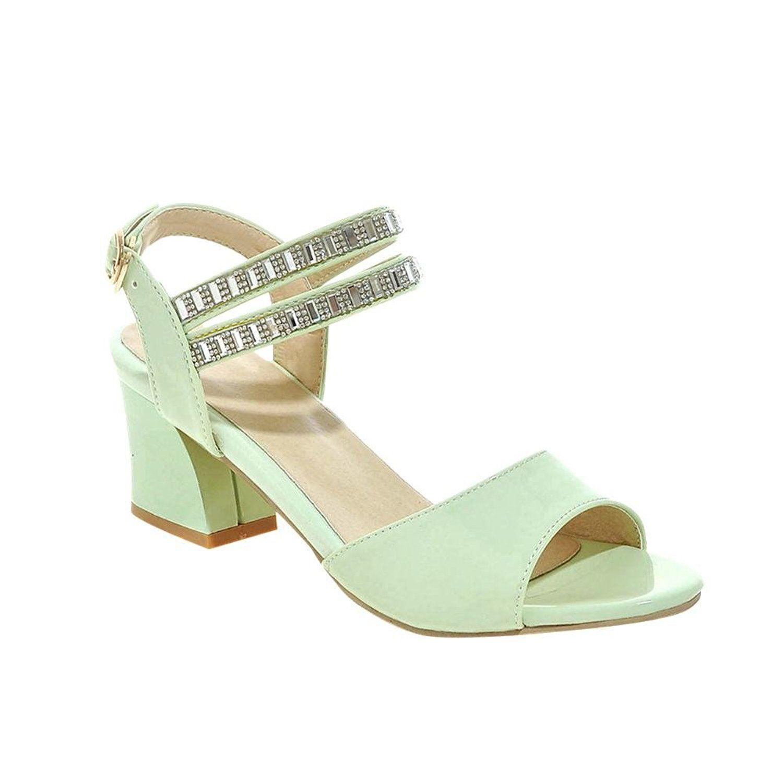 Women's Buckle Rhinestones Elegance Sweet Fashion Peep Toe Chunky Mid Heel Dress Sandals