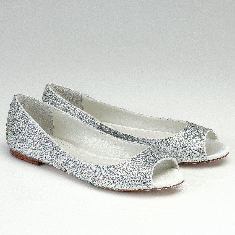 Halle Peep Toe Bridal Flat Encrusted With Crystals. By Benjamin Adams.