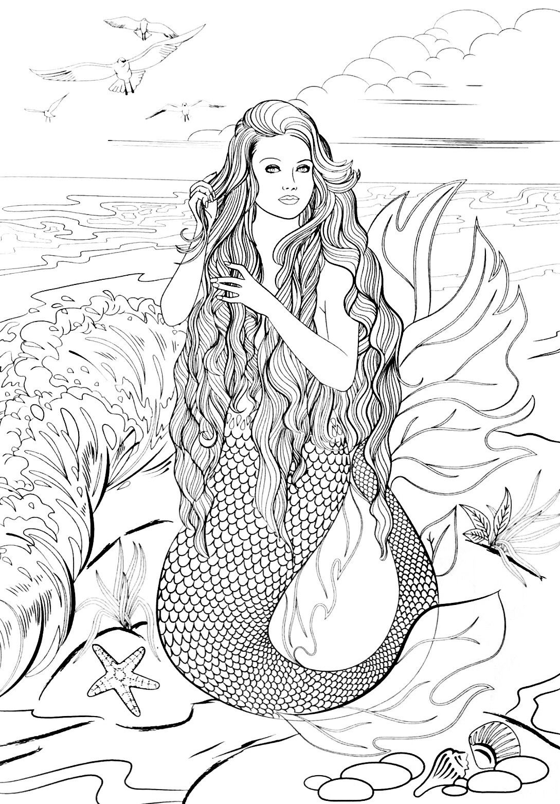 Pin By Elisabeth Quisenberry On Coloring Therapy Sirens Of The Sea Mermaid Coloring Pages Steampunk Coloring Mermaid Art