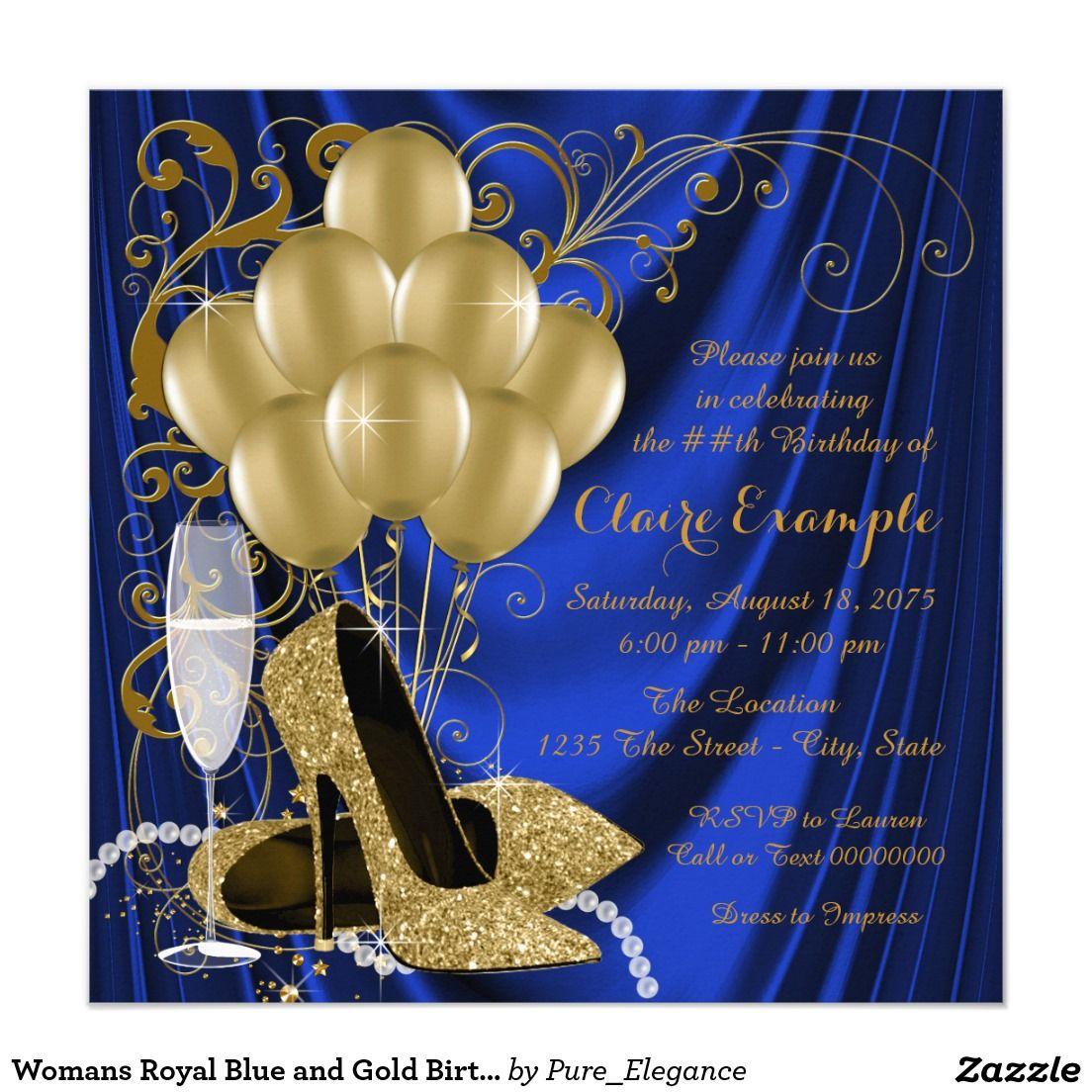 Invitación El azul real de la mujer y fiesta de cumpleaños   Gold ...