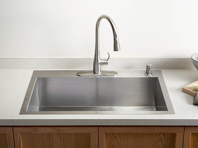 K 3821 4 Vault Top Mount Or Under Mount Sink W Four Faucet Holes