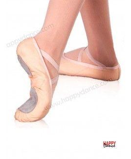 Zapatillas de ballet tela suela partida gomas cruzadas color salmón ... 7b0da2433549