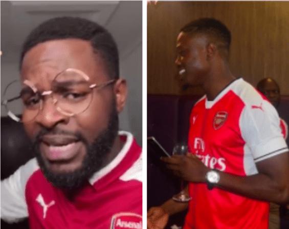 Celebrity Arsenal fans Falz Vector react to Aubameyang