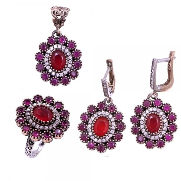 eae918e4a37ad Authentic Sterling Silver Ruby stones set Ottoman Style www ...