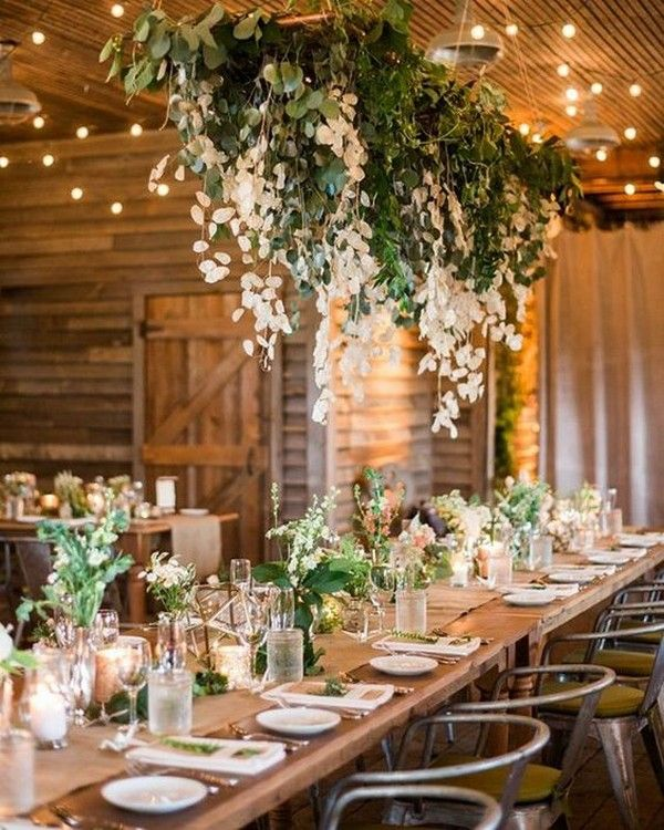 Rustic Wedding Decoration Ideas For Reception: 20 Amazing Hanging Greenery Floral Wedding Decorations For