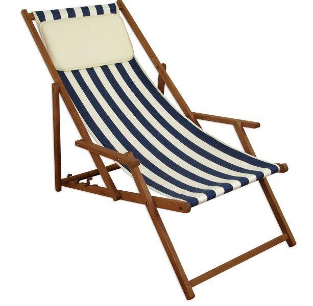 Strandstuhl blau-weiß Gartenliege Sonnenliege Kissen Deckchair - gartenliege holz klappbar
